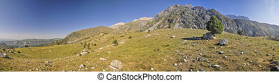 Kyrgyzstan - Scenic panorama of picturesque mountain range...