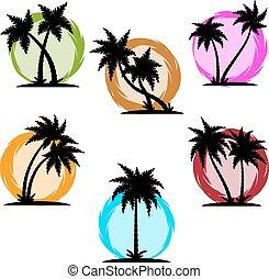 Palm silhouette color set