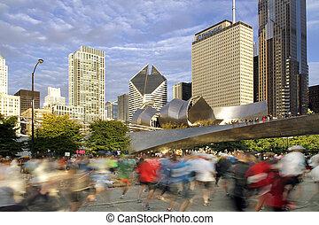 Blurred runners at 2009 Chiicago Marathon - CHICAGO -...