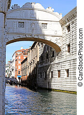 bridge of sighs and the prisons of Venice in Italy