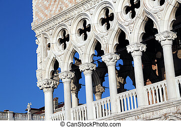 Detail of Doge's Palace in Venice Italy - Detail of Doge's...