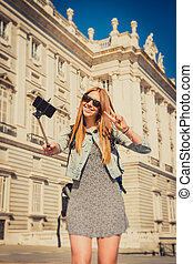 young beautiful tourist girl visiting Europe in holidays...