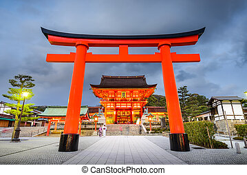 Fushimi Inari Shrine - Kyoto, Japan at the torii gate of...