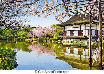 estación, primavera, Kyoto, shrine's, charca, japón, Heian...