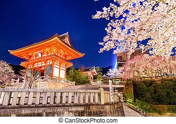 primavera, noche,  Kyoto