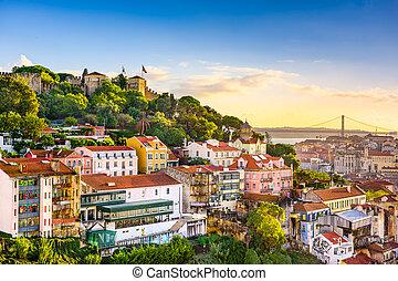 Lisbon, Portugal Skyline - Lisbon, Portugal skyline at Sao...