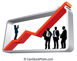 Large graph - Businesspeople are standing in a large graph,...