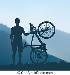 Cyclist in the mountains