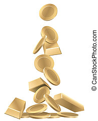 Gold coins and gold bars, vector illustration.