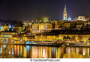 View of the city center of Belgrade at night - Serbia
