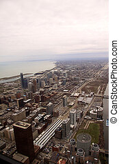 Aerial view over city of Chicago