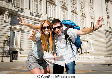 beautiful friends tourist couple on holidays students...