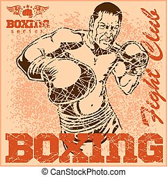 Vintage boxing poster - Boxing match - Vintage poster for...
