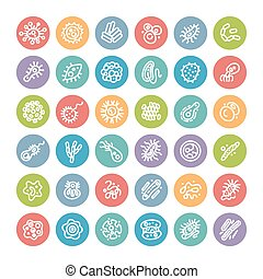 Conjunto, de, plano, redondo, iconos, con, bacterias, y,...