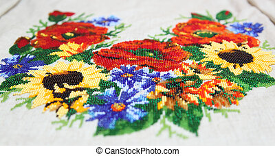Ukrainian embroidery pattern beading