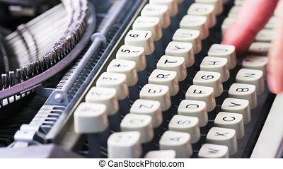 old typewriter typing vintage style - old typewriter typing...