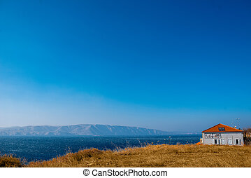 Croatian islands with alone house in front in Senj city