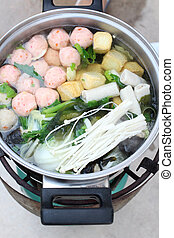 Sukiyaki on the pot