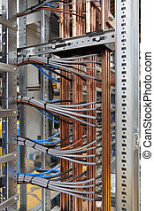 Wires and copper in electrical panel board