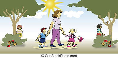 Taking Care of Children - Woman walking with children on a...