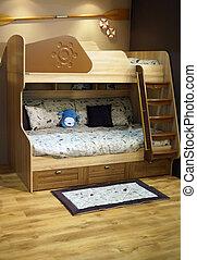 Children's beige bedroom with bunk bed