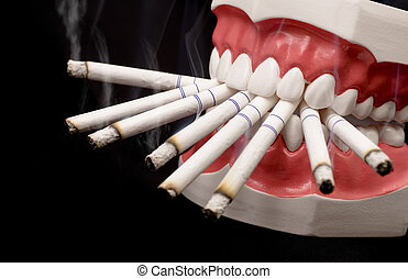 Teeth and Cigarettes - Plastic teeth with lots of cigarettes...