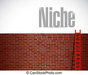 clime to the niche. ladder concept. illustration design over...