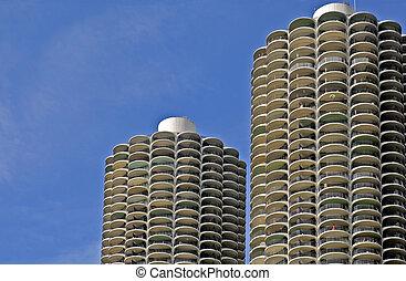 milho, cob, arquitetura, em, Chicago,