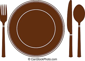 plate knife and fork icon - vector illustration isolated on...
