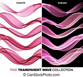 Set of color transparent smoky wave - Vector Set of color...