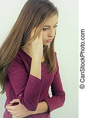 Cute teenager not feeling well isolated