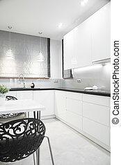 Luxury kitchen interior - Luxury silver kitchen interior in...