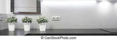 Flowerpots on the wooden worktop in the kitchen