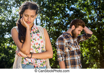 Young couple after an argument