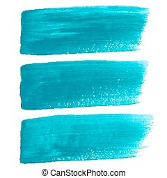Turquoise ink vector brush strokes