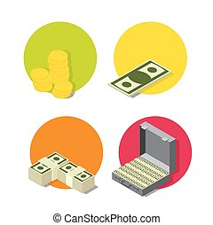 Business and banking icon set. Flat