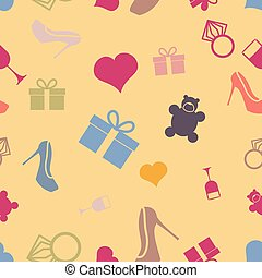 March 8 characters Seamless pattern Heart, ring, shoes, gift...