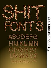 Shit font, letters of shit Brown color