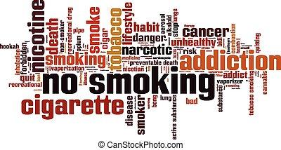 no, Fumar, palabra, nube,