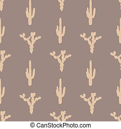 Vector seamless pattern with silhouette of cactus EPS 8