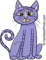 purple cross eyed cat cartoon - Cartoon Illustration of...