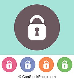 Vector padlock icon - Single vector padlock icon on round...