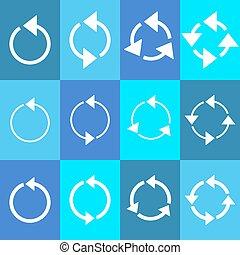 Rotating circle arrows - White rotating circle arrows...