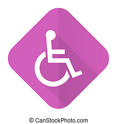 wheelchair pink flat icon