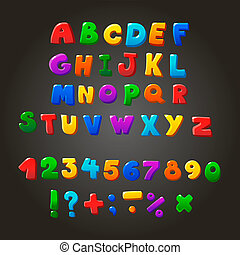 Multicolored kids Font, letters, numbers and orthographic...