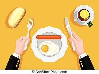Breakfast with scrambled eggs. Vector flat illustration