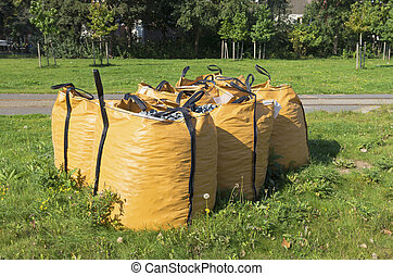 waste debris bags with construction waste