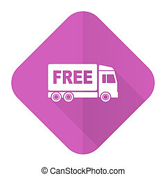 free delivery pink flat icon transport sign
