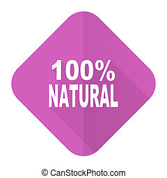 natural pink flat icon 100 percent natural sign