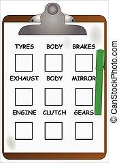 Garage Clipboard - A garage clipboard with a green felt tip...